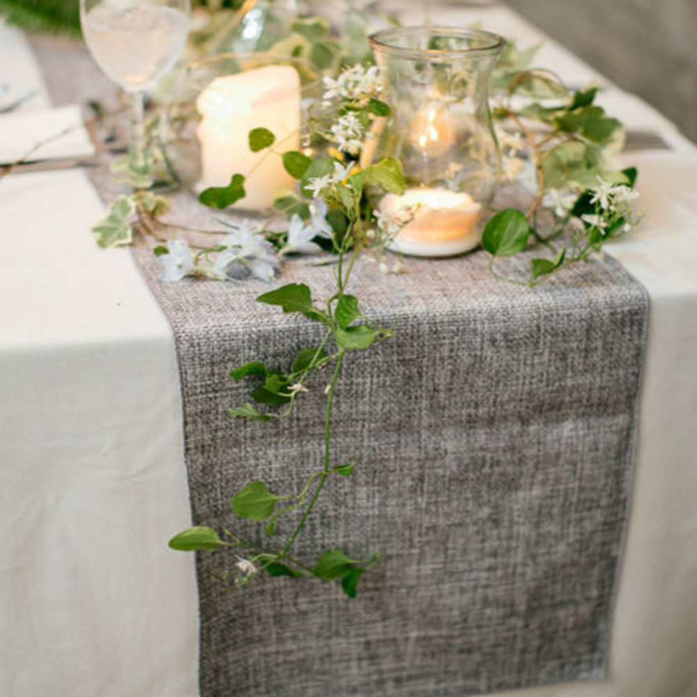 Table Runner Burlap Natural Jute Imitated Linen Rustic Wedding Party Table Decoration Khaki Gray Tablecloth Home