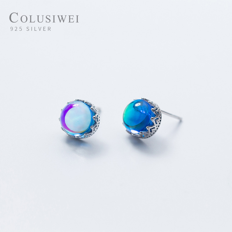 Colusiwei Crown Collection Stud Earrings 925 Sterling Silver Gradient Blue Crystal Universe Ear Studs Women Fashion Jewelry
