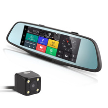 Buy online Smart Rearview Mirror Multi-function Car Camcorder Car Bluetooth Navigators HD Night Vision Dual Lens With Backview Camera