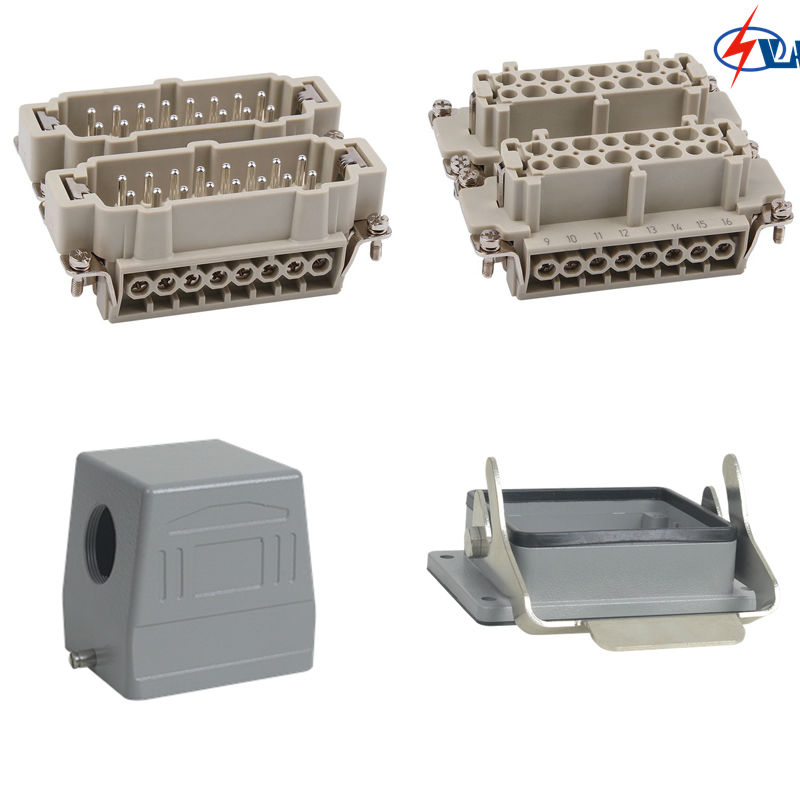 Price 32pins HE-032 Heavy Duty Connector Whole set 16A heavy duty connectors hdc he 024 1 f m 24pin industrial rectangular aviation connector plug 16a 500v