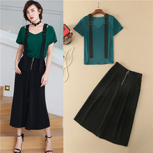 elegant women two piece sets high quality green v-neck t-shirt and black mid-calf pants suit sets fashion 2017 summer blouses xl