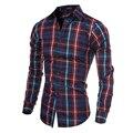 2016 Camisas de Los Hombres Camisa de Manga Larga A Cuadros Rojos Casuales Para Hombre Diseñador de la Marca Negro A Rayas Camisa A Cuadros Ropa de Los Hombres 5093