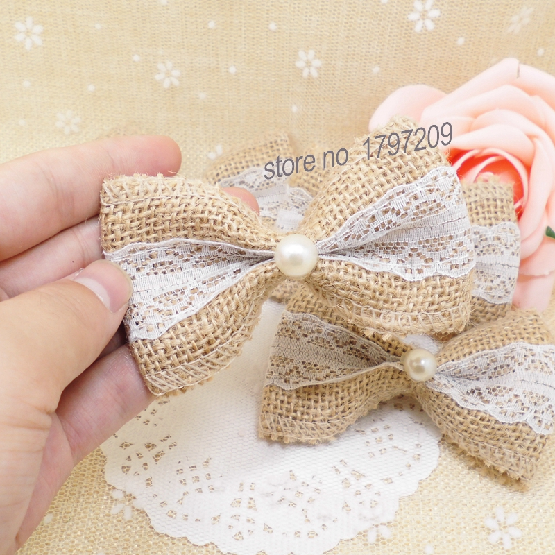 aliexpresscom buy 10pcslot natural jute burlap hessian flower white bow handmade decoracion vintage christmas decorations wedding decor favors from - Burlap Christmas Decorations For Sale