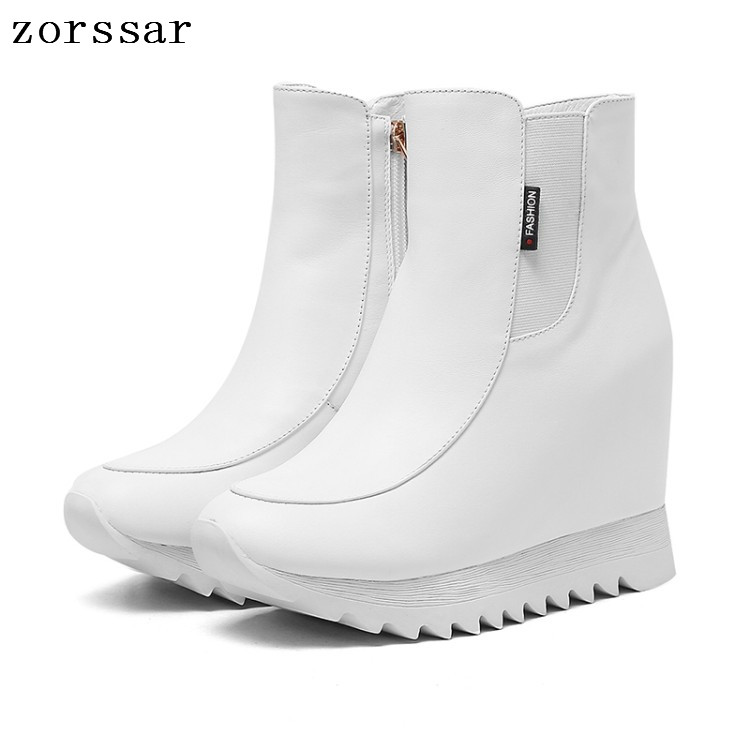 {Zorssar} Fashion womens winter boots Genuine Leather height increasing shoes women high heel ankle boots Platform wedges boots women autumn winter wedges chunky heel height increase elevator genuine leather buckle zip fashion ankle boots 34 39 sxq0724