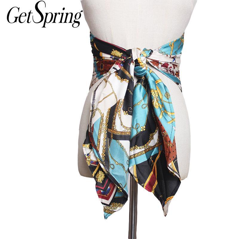GETSPRING Woman Belt Printed Silk Wide Belts Fashion Womens Cummerbund All Match Bow Belt Wide Waistband Ladies Cummerbunds 2019