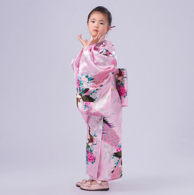 Rosa criança novidade Floaral vestido de festa menina japonesa Kimono crianças Yukata Vintage menina miúdo Cospaly trajes flor B-077