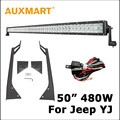 "Auxmart 5D Cree Chips 480W 50"" LED Light Bar + Windshield Mount Bracket Fit For Jeep Wrangler YJ 1987 1988 1989 1990-1995"