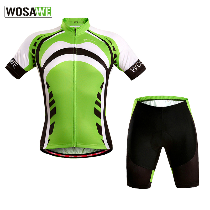 WOSAWE Mountain Bike Shorts de Ciclismo + Ciclismo Jersey Set Quick Dry GEL Pad maillot ciclismo Bicicleta Respirável Roupas de Ciclismo|Kits ciclismo| |  - title=