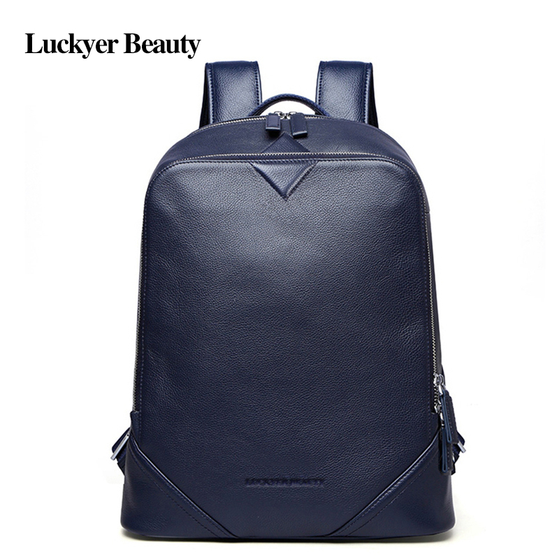 Luckyer Beauty Cowhide Genuine Leather Student School Bag Fashion Notebook Laptop Bags Men's Rucksack Casual Mochila For Male