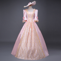 Women's Historical Marie Antoinette Fairy Princess Brocade Ball Gown Period Gothic Dress Clothing