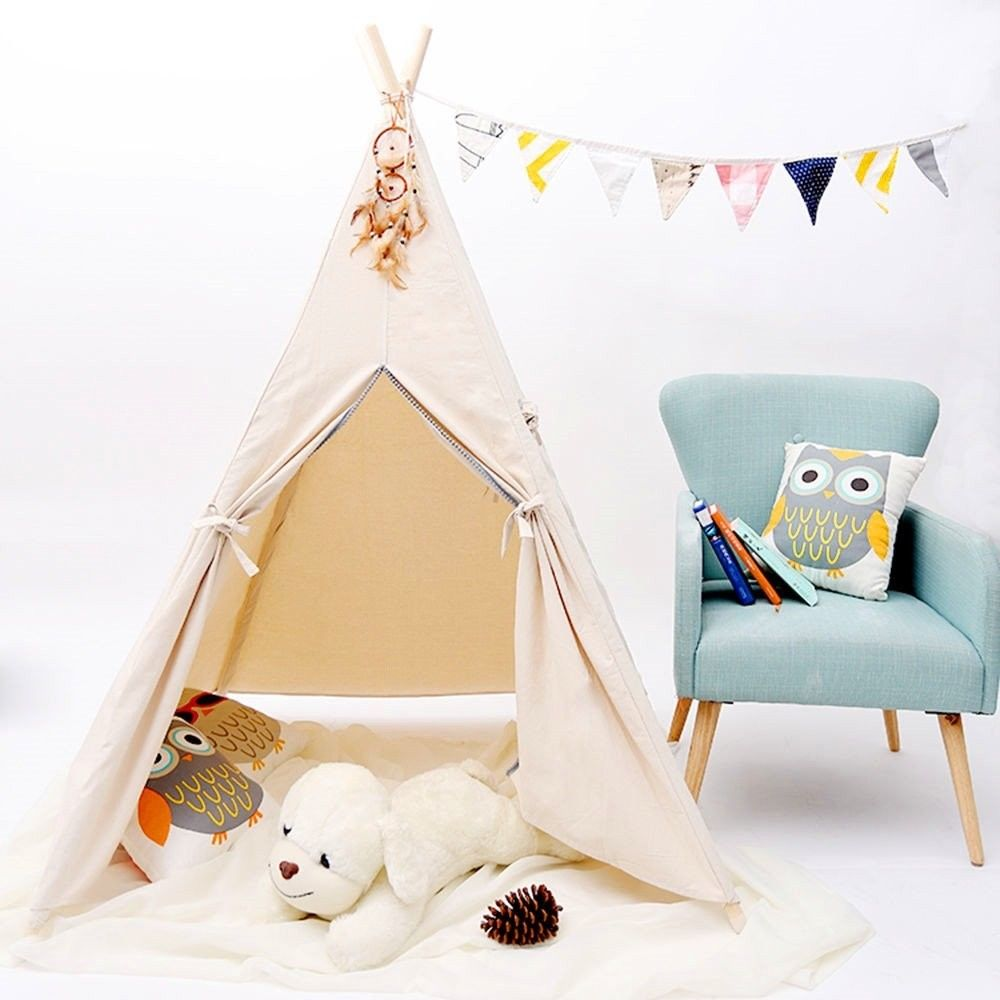 Four-Pole Natural Unbleached Calico Canvas Kids Indian Play Teepee Tent With Carry Bag Native Tipi Play Tent mrpomelo four poles kids play tent 100