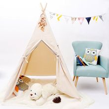 Four Pole Natural Unbleached Calico Canvas Kids Indian Play Teepee Tent With