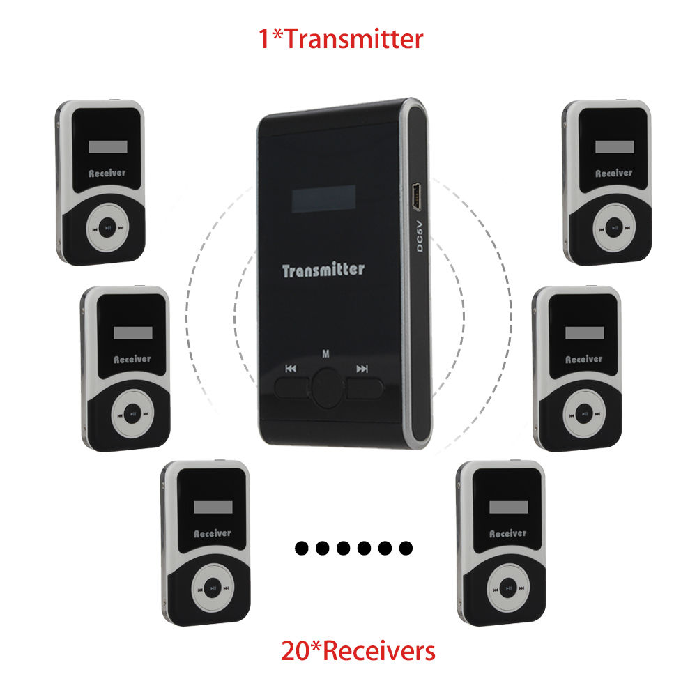 DHL Shipping! ATG100 1 TX to 20 RX Wireless Microphone Speaker Kit Transmitter Receiver Wireless TRS Tour Guide System Teaching blueskysea atg100 wireless tour guide system 1transmitter 15 receivers charger for meeting visiting teaching 195 230mhz portable