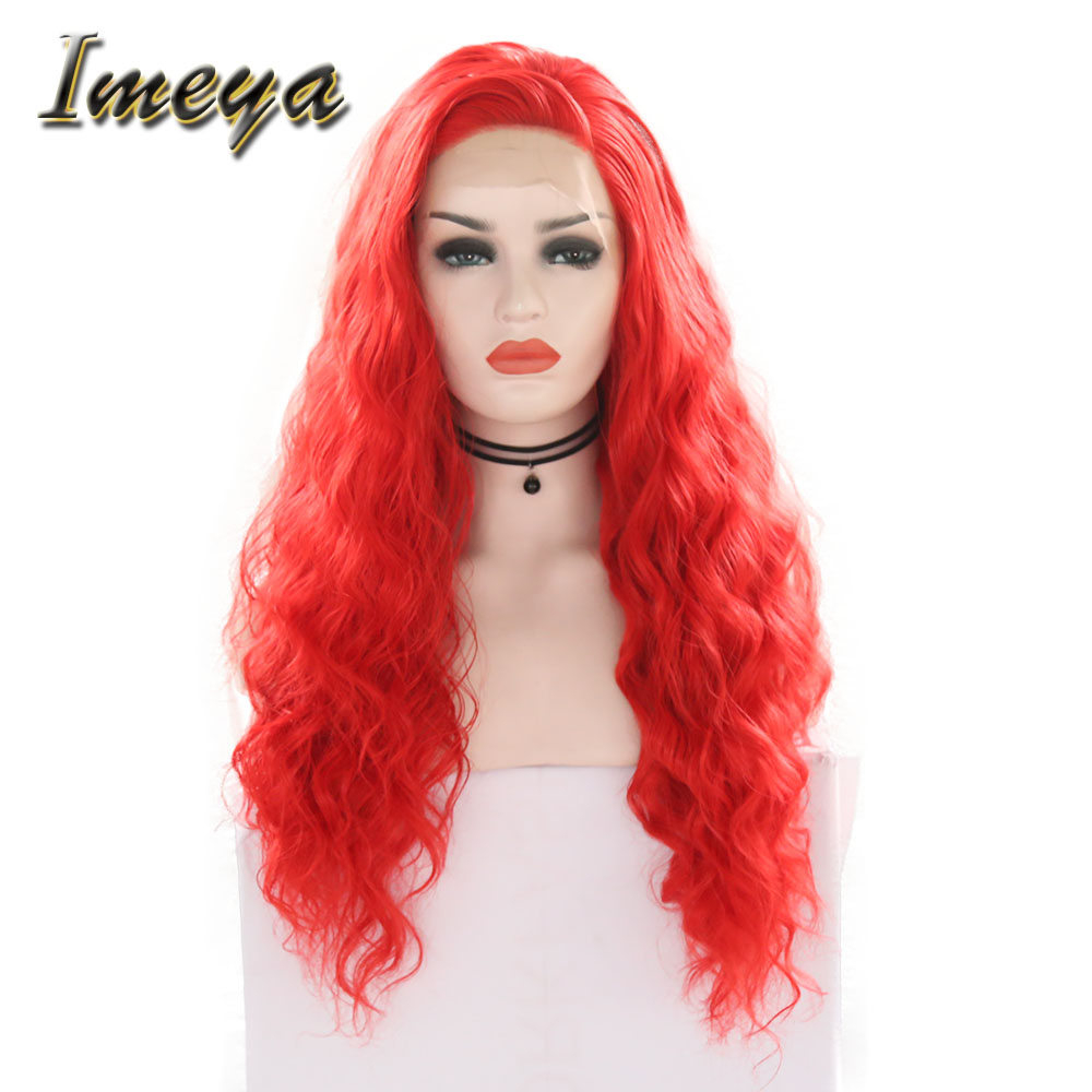 Synthetic Wigs Purposeful Imeya Cosplay Long Wavy Wigs Synthetic Lace Front Wigs With Side Part Red Color Half Hand Tied Replacement Party Wigs For Women Mild And Mellow Synthetic None-lacewigs