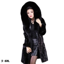 Artificial fur coat new ladies half flange fashion imitation water mink hair large collar fox long