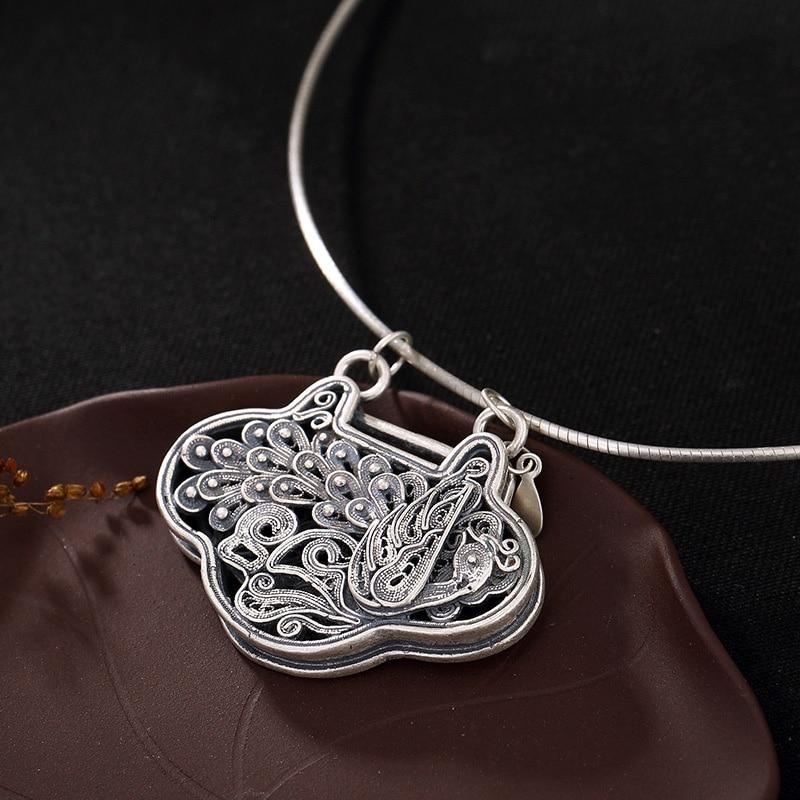 Pendentif médaillon paon fait main en argent Sterling 990 pendentif poisson personnalisé collier cadeaux pour femme pendule