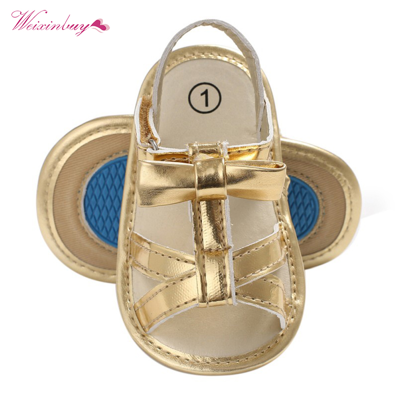 2018 Summer Girl Baby Shoes Infant Toddler Bebe Party bow Birthday Gift Gold Bow PU nonslip Baby Moccasins Shoes Y13