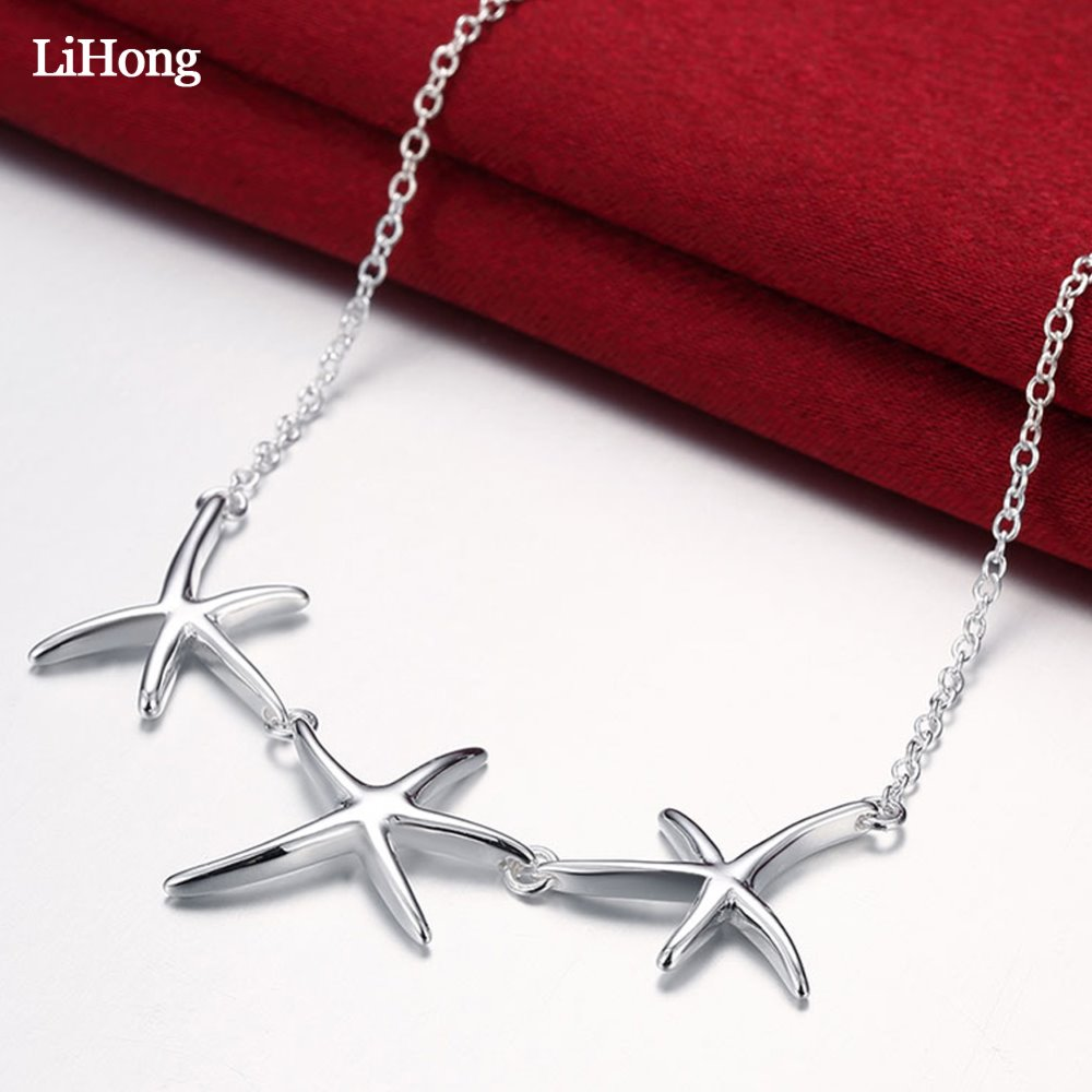Fashion Jewelry Silver Necklace Three Starfish Pendant Women Elegant Glamour Free Shipping