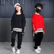 104a6f623 Niños hip-hop ropa carta imprimir niños Ropa femenina de bebé set 2018  primavera moda calle bailando traje 4 6 8 10 12 14 16 año.