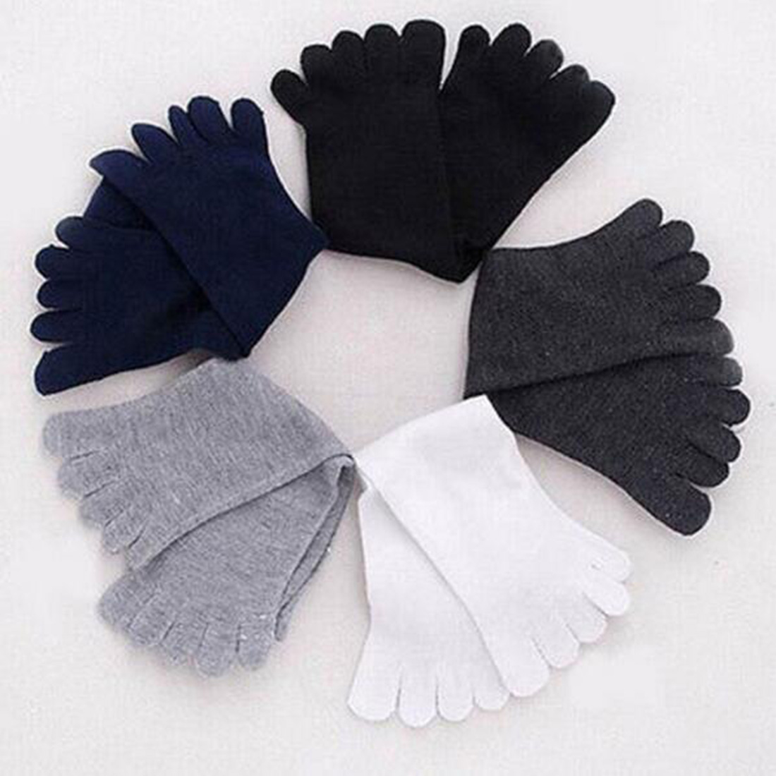 Hot Sale Soft Fashion 1 Pair Winter Autumn Warm Comfortable Men Top Quality Women's Guy Five Finger Pure Soft Cotton Toe   Socks