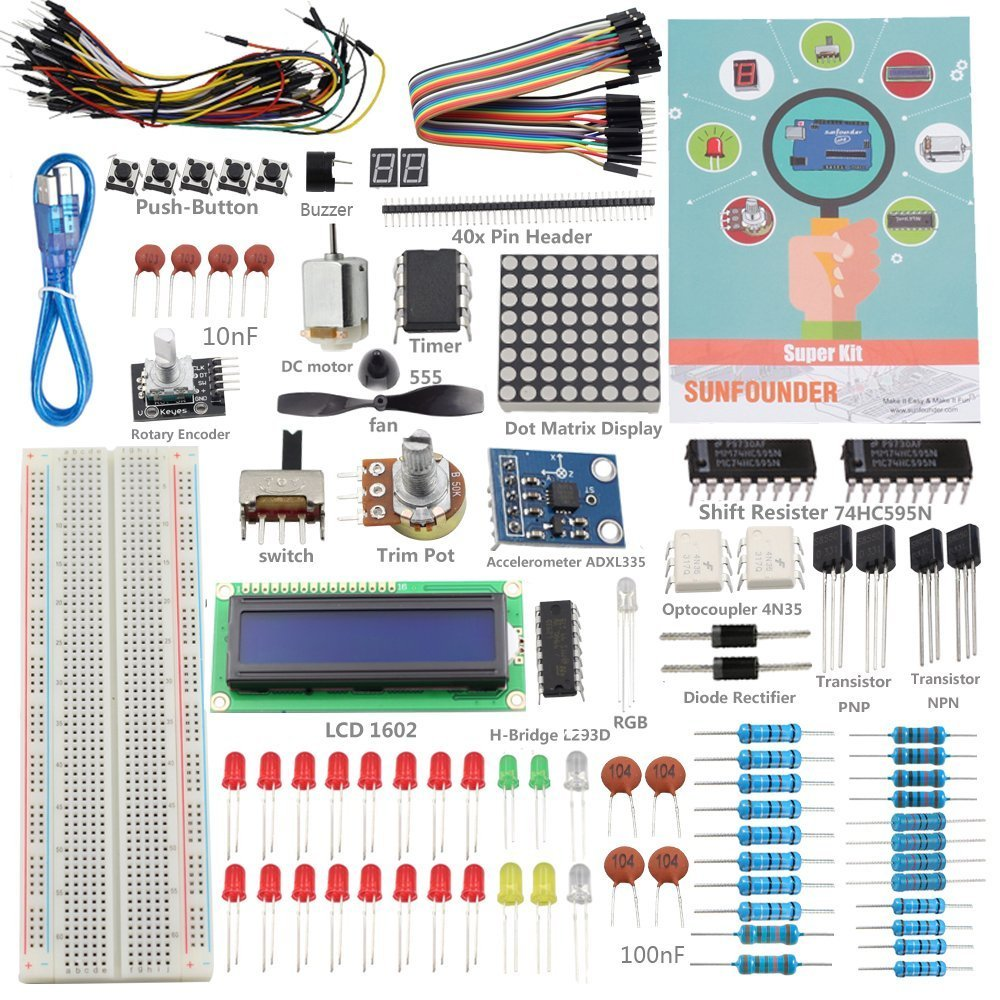 US $12 76 42% OFF|SunFounder Starter Kit for Arduino Uno R3 Mega2560  Mega328 Nano + breadboard cable jumper wires +19 Projects+LCD 1602-in  Integrated