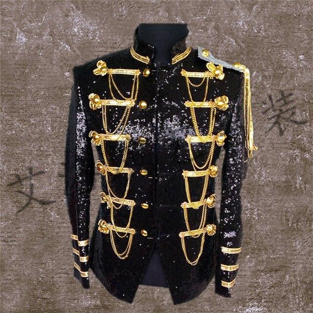 Новый мужской длинный костюм бар певица костюмы производительность хост с пиджака do241