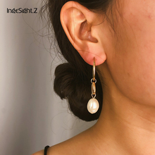 IngeSight.Z Bohemian Alloy Shell Hoop Earrings Statement Vintage Irregular Simulated Pearl for Women Jewelry Oorbellen