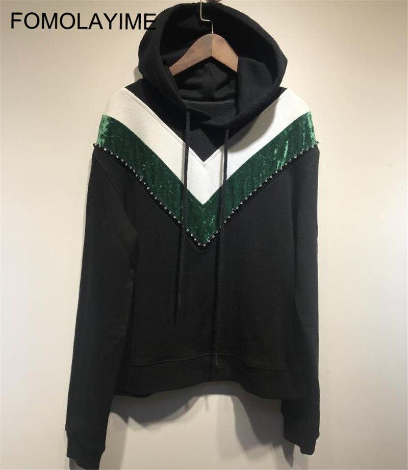 FOMOLAYIME New Hoodies Women High Fashion Pullover Hoodies 2018 Casual Designer Autumn Winter Hoodies Sweatshirts