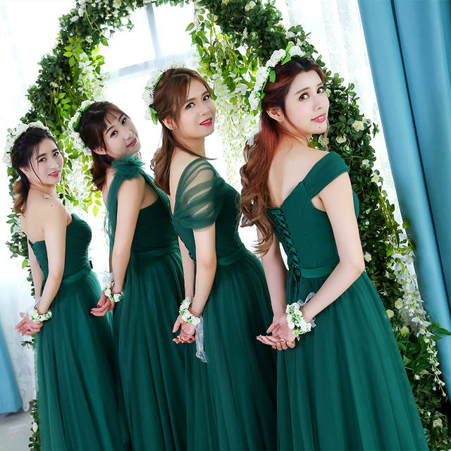 Robe De Soriee Emerald Green Bridesmaid Dress Elegant Bride Party Married  Gown Cheap Prom Dress Under 4c78cf9c58f9