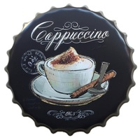 40CM Capuccino Coffee Bottle Caps Decorative Tin Signs Cafe Beer Bar Wall Decoration Plaque Vintage Home Decor Dropshipping