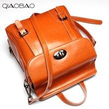 QIAOBAO 100% Натуральной кожи Рюкзак Женщины Женщины Рюкзак Высокое Качество Softback Mochilas Школьные Сумки Для Подростков