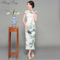 Traditional Chinese Dress Long Cheongsam Qipao Dresses Robe Chinoise Oriental Style Wedding Qi Pao Asian Formal Women CC495