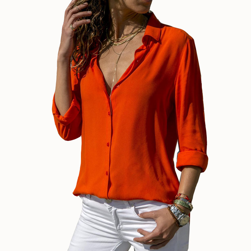 Women Solid Chiffon   Blouse     Shirt   Short Sleeve   Blouse   V-neck   Shirts   Casual Tops   Blouse   Chemisier Femme Blusa Mujer de Moda 2019