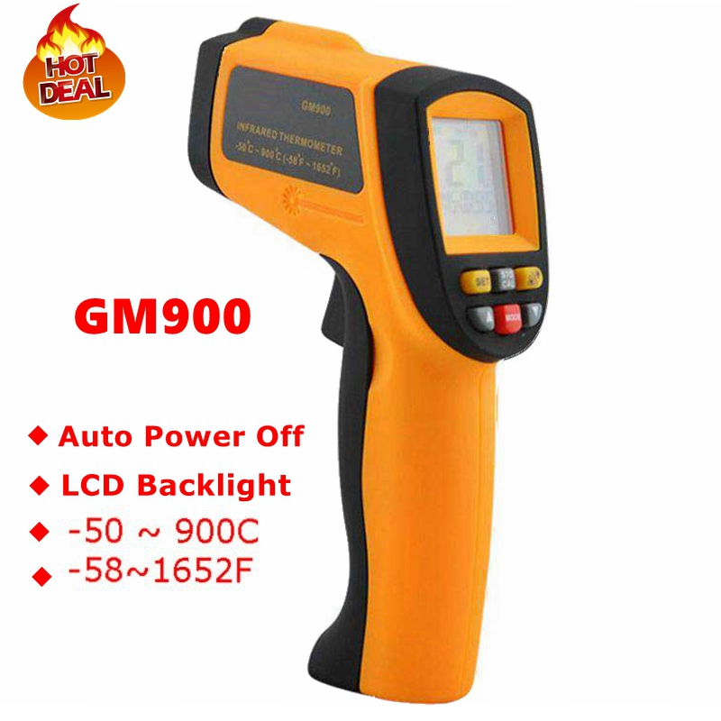 GM900 Thermometer Digital IR Laster Infrared Temperature Meter Non-contact LCD Gun Style Handheld -50-900C -58-1652F Pyrometer