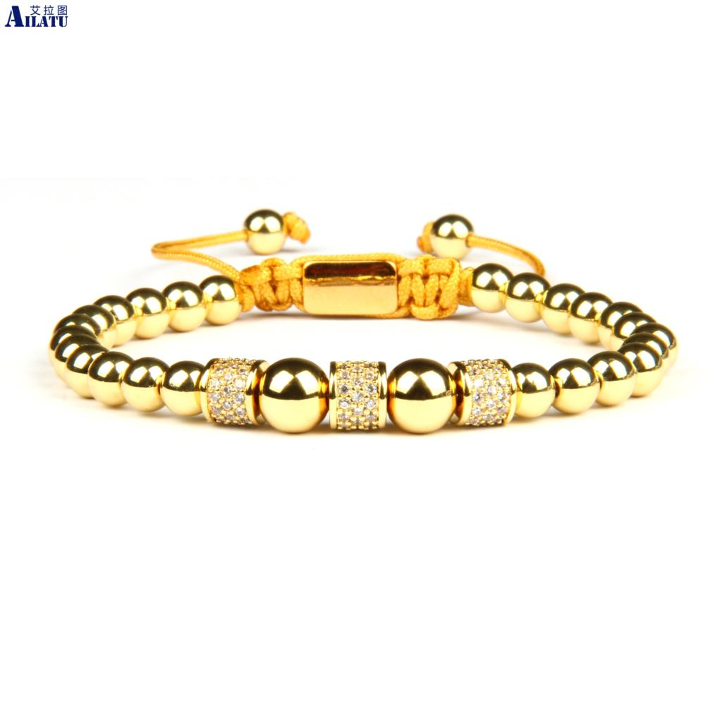Ailatu New Luxury Men Micro Pave Cylinders Braiding Bracelet with 6mm Gold and Silver Plated Beads