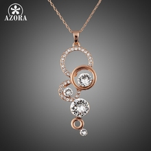 AZORA Rose Gold Color Pure Clear Simply Small Round 1 carat Cubic Zirconia Pendant Necklace TN0046