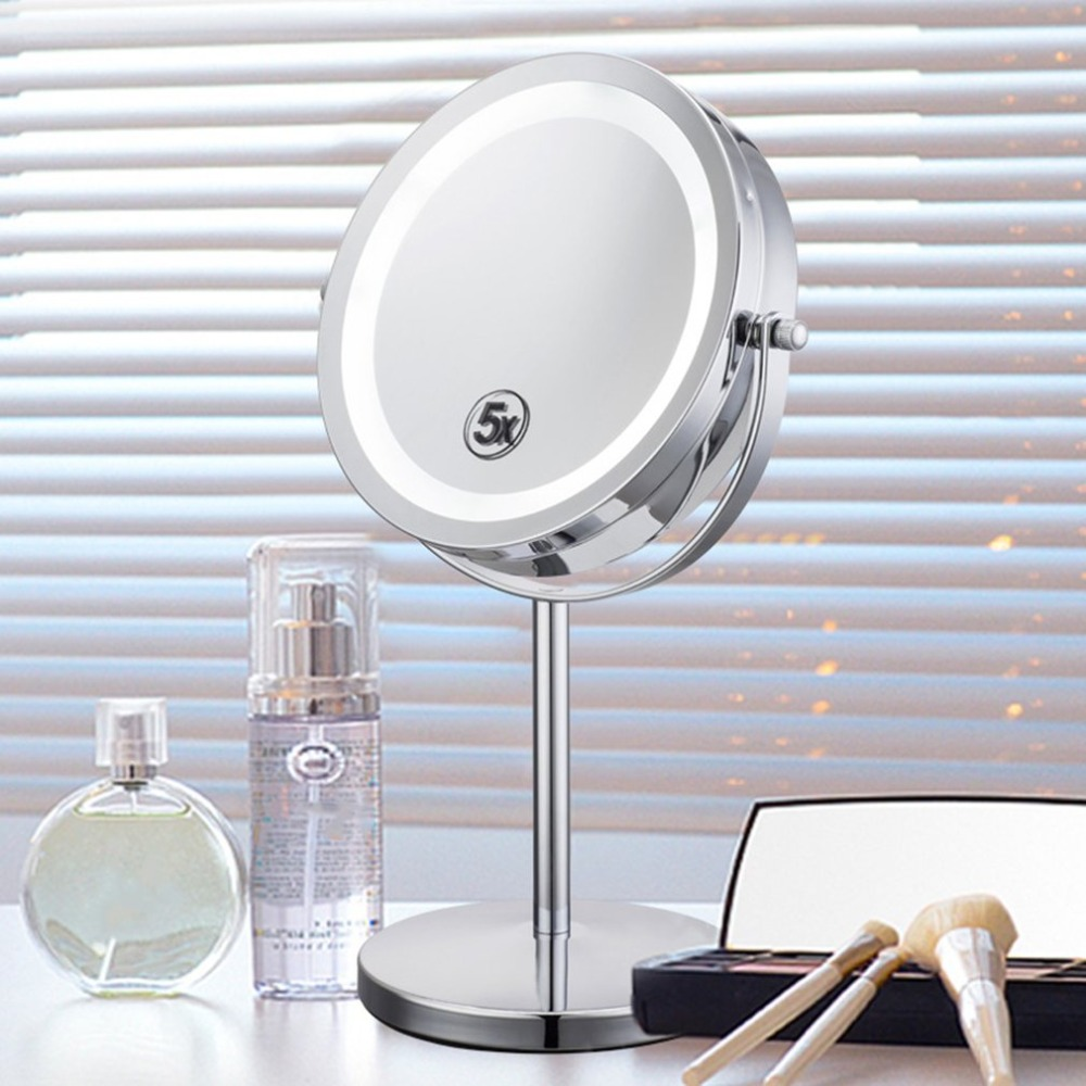 Portable Size 5X Magnification Facial Makeup Cosmetic Mirror Round Shape LED Light Women Desktop Makeup Mirror 6 inch 5x magnification cosmetic makeup mirror round shape 2sided rotating magnifier mirror led light makeup mirror for gift