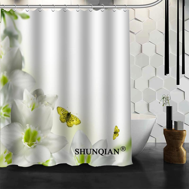 Best Nice Custom Elegant Colour Orchid Flower Shower Curtain Bath Curtain Waterproof Fabric Bathroom Curtain MORE