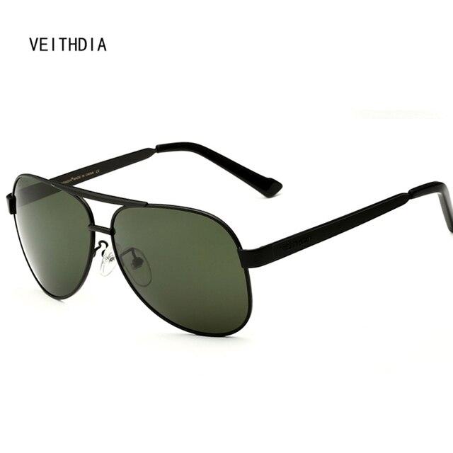 bc3c01a581aa1 Marca de óculos de sol Veithdia aviação Polarizerd Esporte Óculos De Sol  Dos Homens Óculos de