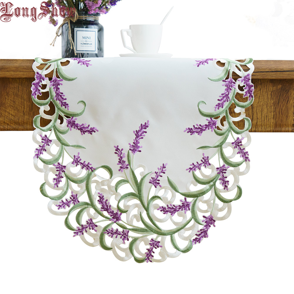 Luxury Beige Color Handmade Satin Cutwork Embroidered Lavender Lilac Oval Table Runner