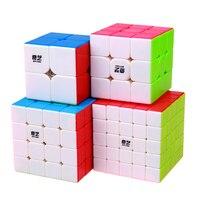 4pcs Set QIYI 2x2 3x3 4x4 5x5 Magic Cubes Colorful Puzzle Cubes Toys Boys New Year