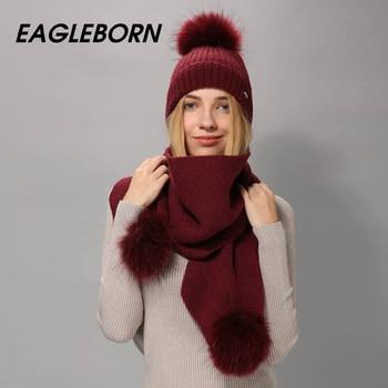EAGLEBORN-écharpe de chapeau pour femmes   Bonnet en laine tricoté, ensemble écharpe pour chapeau et grand vrai vison, fourrure pom pom, écharpe d'hiver