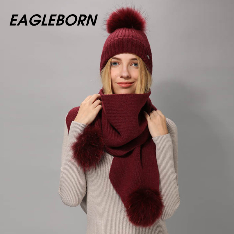 EAGLEBORN Winter Hat Scarf For Women Girl's Beanie Wool Knitted Hat Scarf Set And Big Real Mink Fur Pom Pom Winter Beanie Scarf