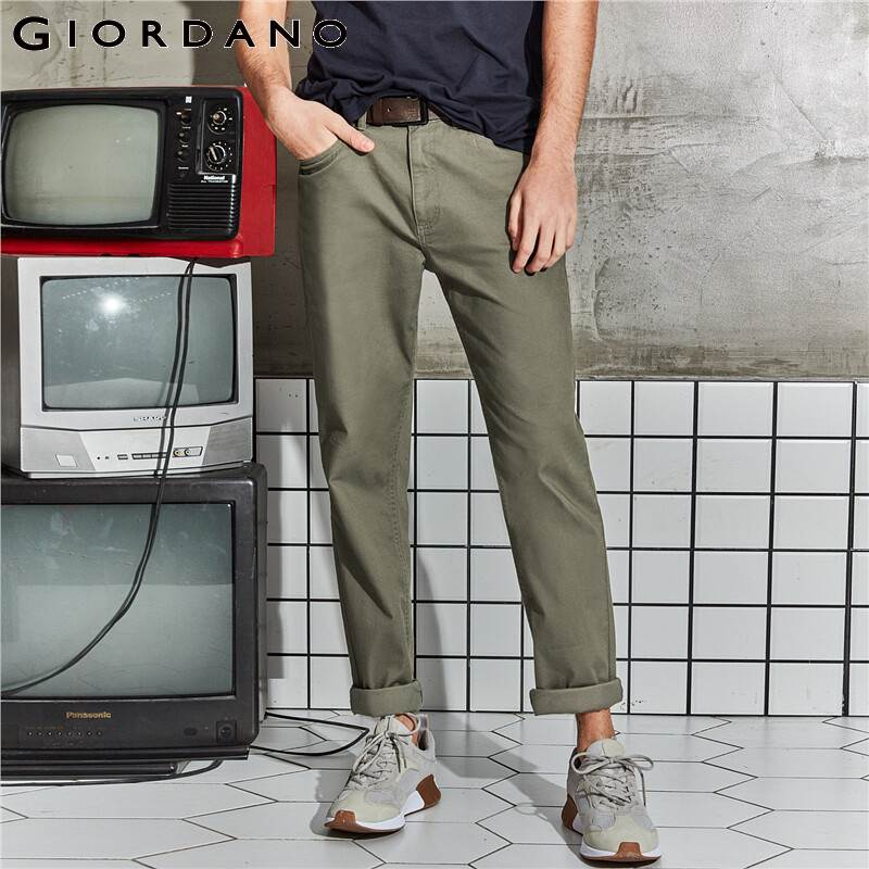Giordano Men Pants Men Stretchy Cotton Spandex Solid Color Casual Pants Men Zip Front Button Closure Pantalones Hombre