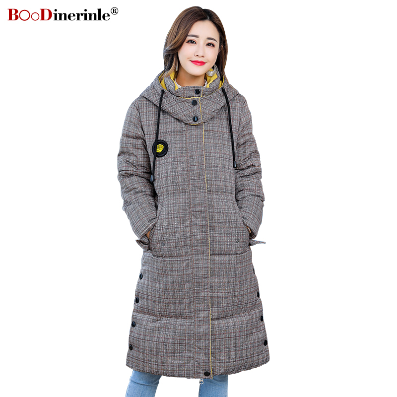 BOoDinerinle Women's Winter Warm Jacket Female Thicken Slim Gray Plaid Cotton Coat   Parkas   Casual Hooded Outwear Coats MY336