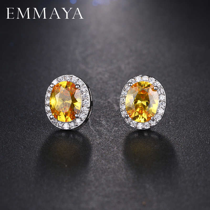 EMMAYA Cute Sliver Color Micro Inlay Oval Shape Cubic Zirconia Stud Earrings For Fashion Women Party Jewels