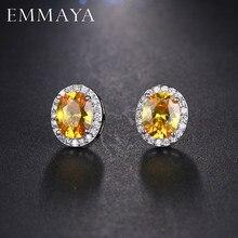 EMMAYA-boucles d'oreilles à clous en zircone cubique couleur argent, adorable incrustation ovale, bijoux de fête pour femmes à la mode