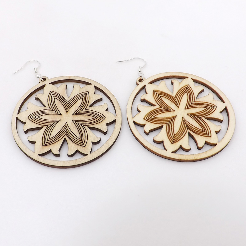 12 Pairs Good Quality Wood Earrings Organic Round Wood color Hollow Flower African Woman Wooden Brincos