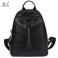 QIWANG Genuine Leather Women Tassel Backpack Fashion Luxury Leather Woman Backpack High Quality School Back Bag