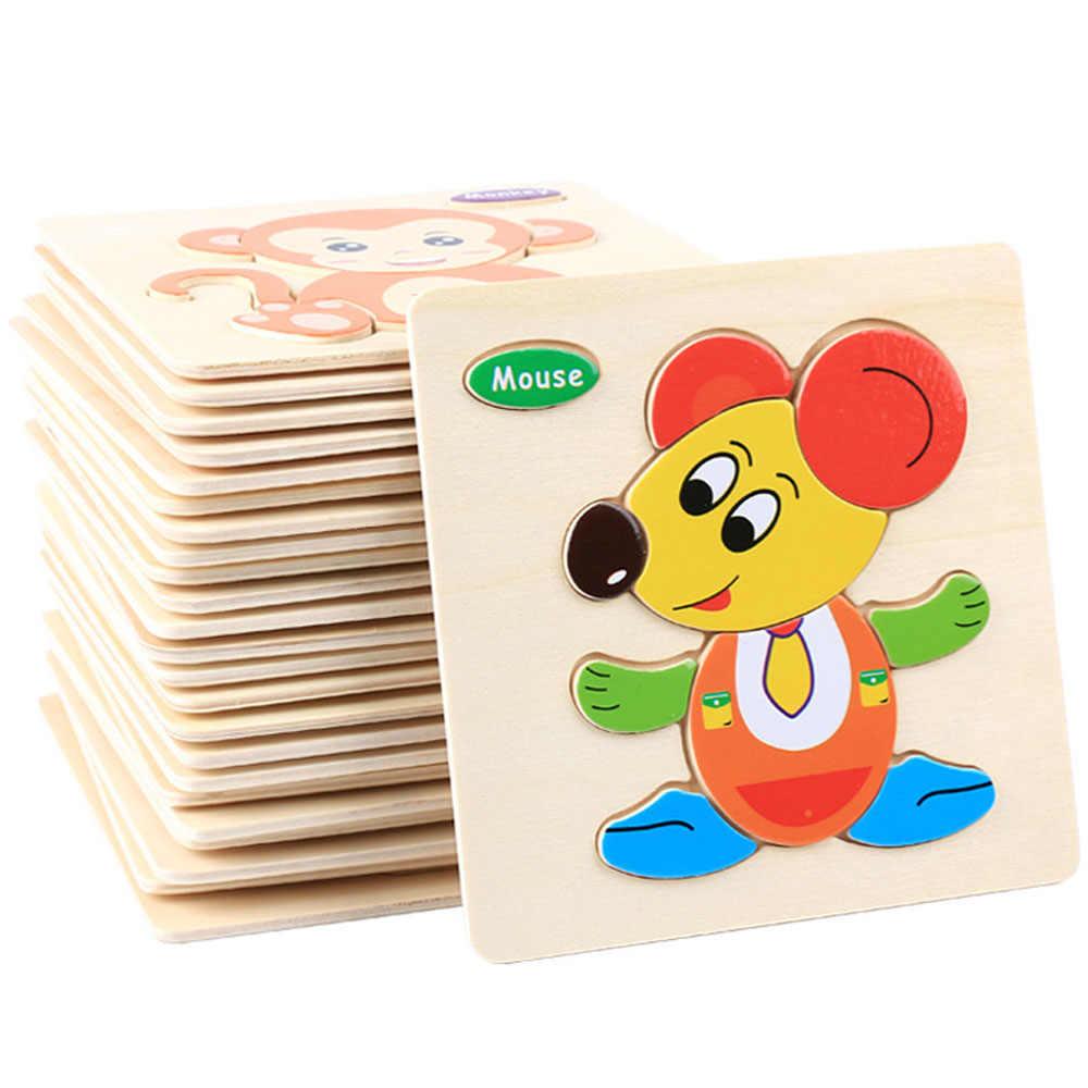 Giocattoli del bambino di Puzzle Di Cartone Animato Animale di Puzzle Montessori Di Legno 3D Puzzle Giocattoli per I Bambini Early Educativi Giocattoli per il Regalo Dei Bambini
